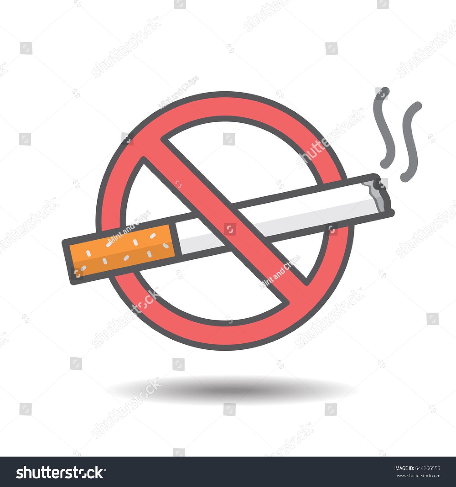 No Smoking Sign Drawing On White Stock Vector Royalty Free 644266555