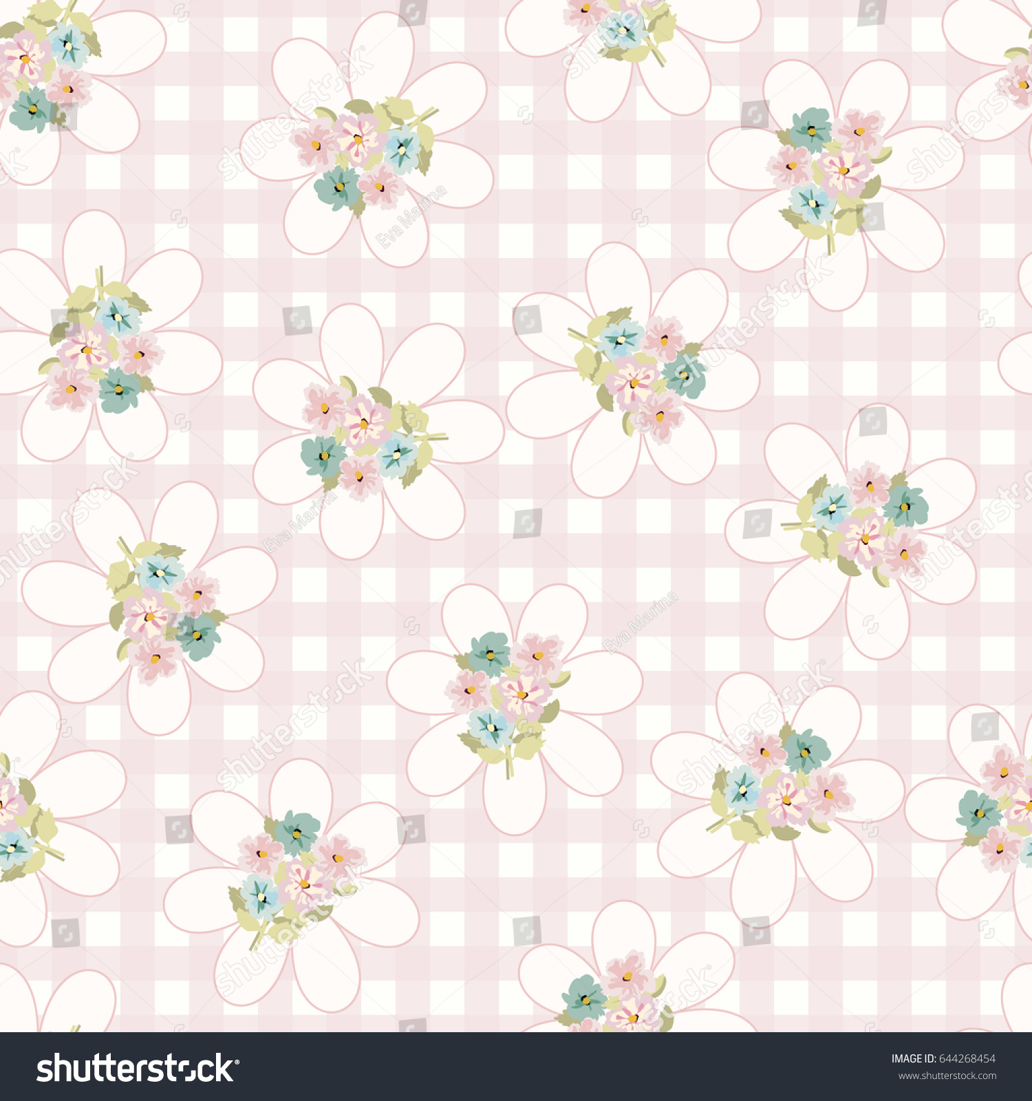 Vintage Feedsack Pattern In Small Pretty Flowers Floral Sweet