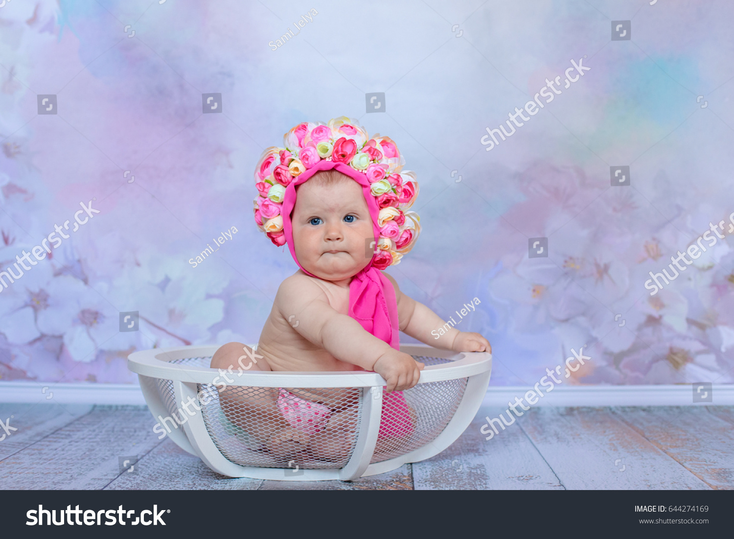 Baby Sits Flower Hat Girl Hat Stock Photo (Royalty Free) 644274169 ...