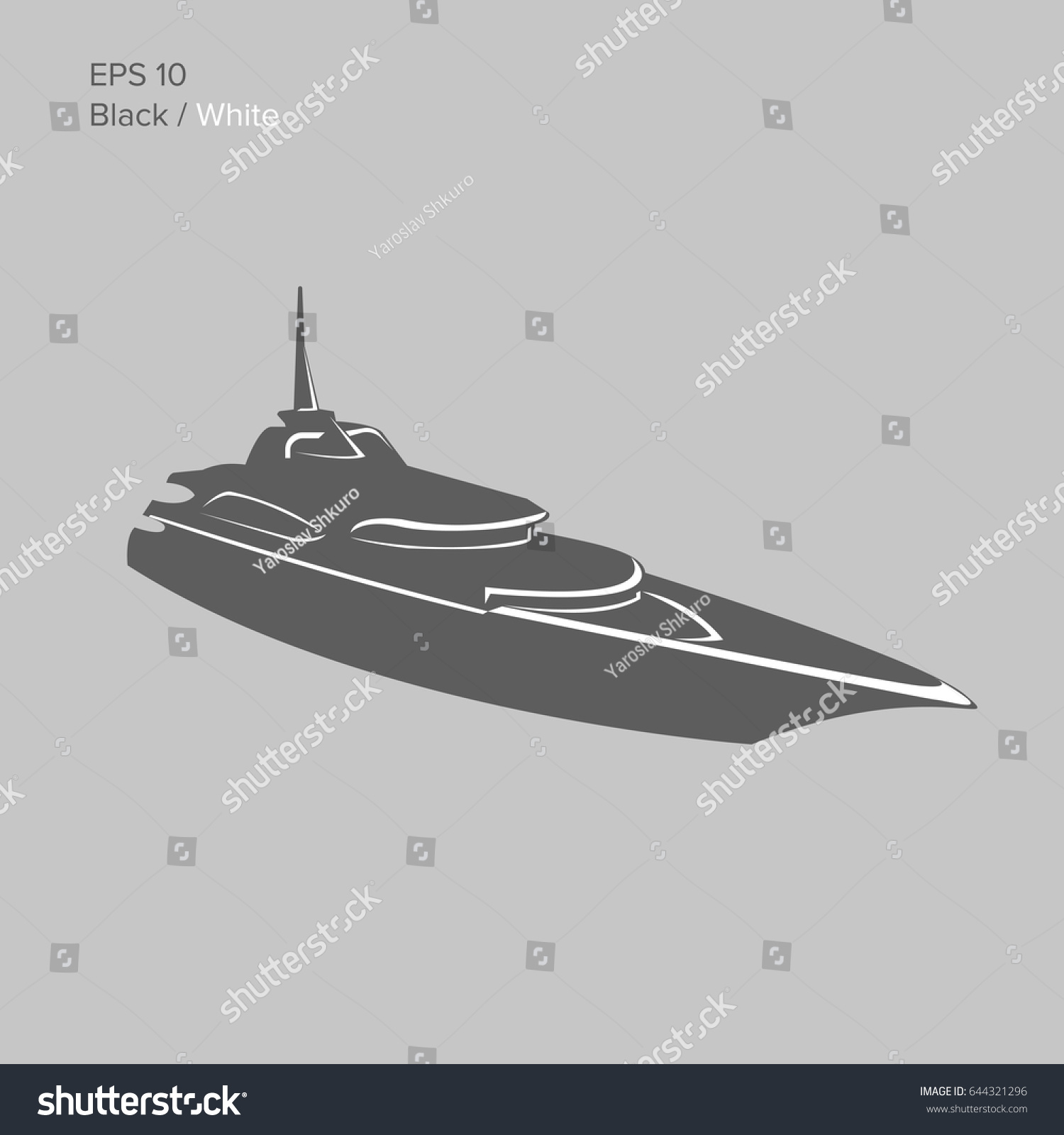 Big And Luxury Yacht Vector Illustration Black Transparent Private Ship Isolated Exclusive