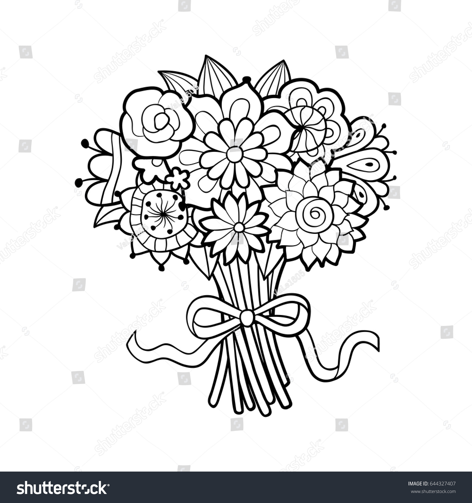 Flower Bouquet Decorated Bow Black White Stock Vector Royalty Free