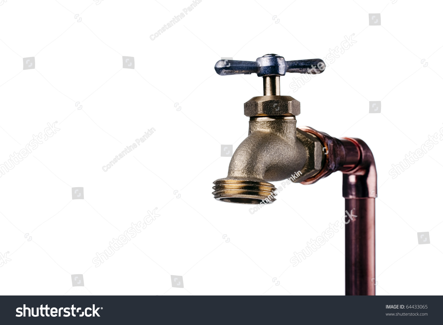 bronze faucet attached to the water system of copper pipes stock photo 64433065 shutterstock. Black Bedroom Furniture Sets. Home Design Ideas