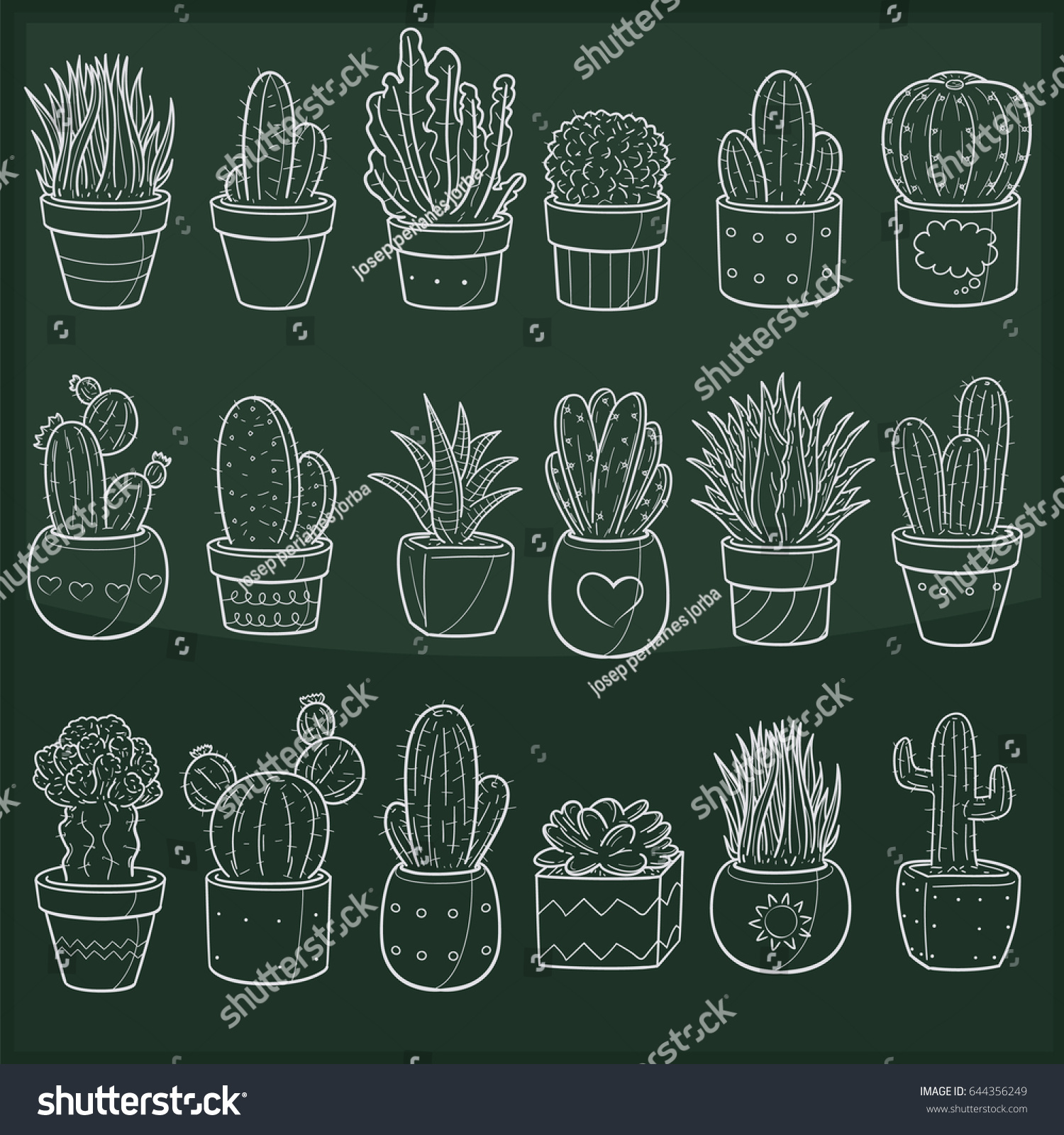Cactus Succulent Plant Doodle Icon Chalkboard Stock Vector Royalty Free 644356249