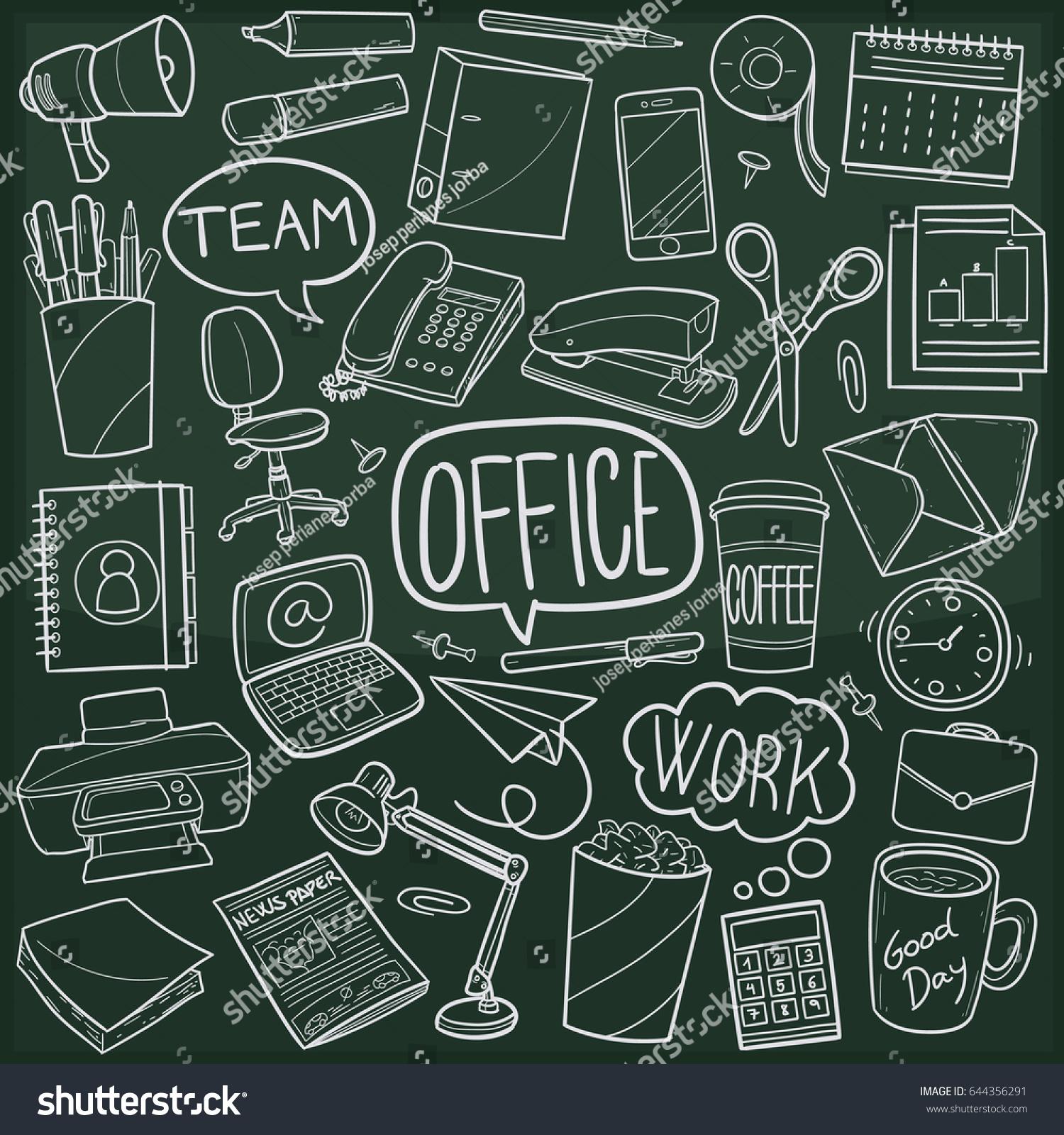 chalkboard office. Office Work Doodle Icon Chalkboard Sketch