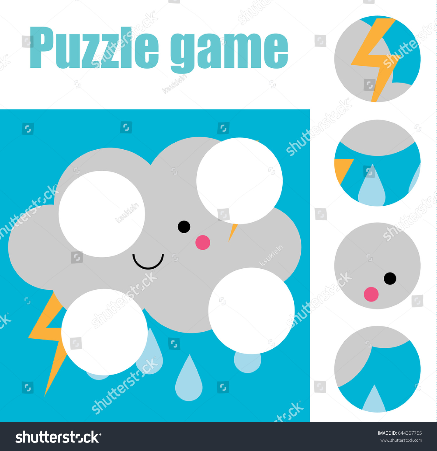 Matching Children Educational Game Match Pieces Stock Vector ...
