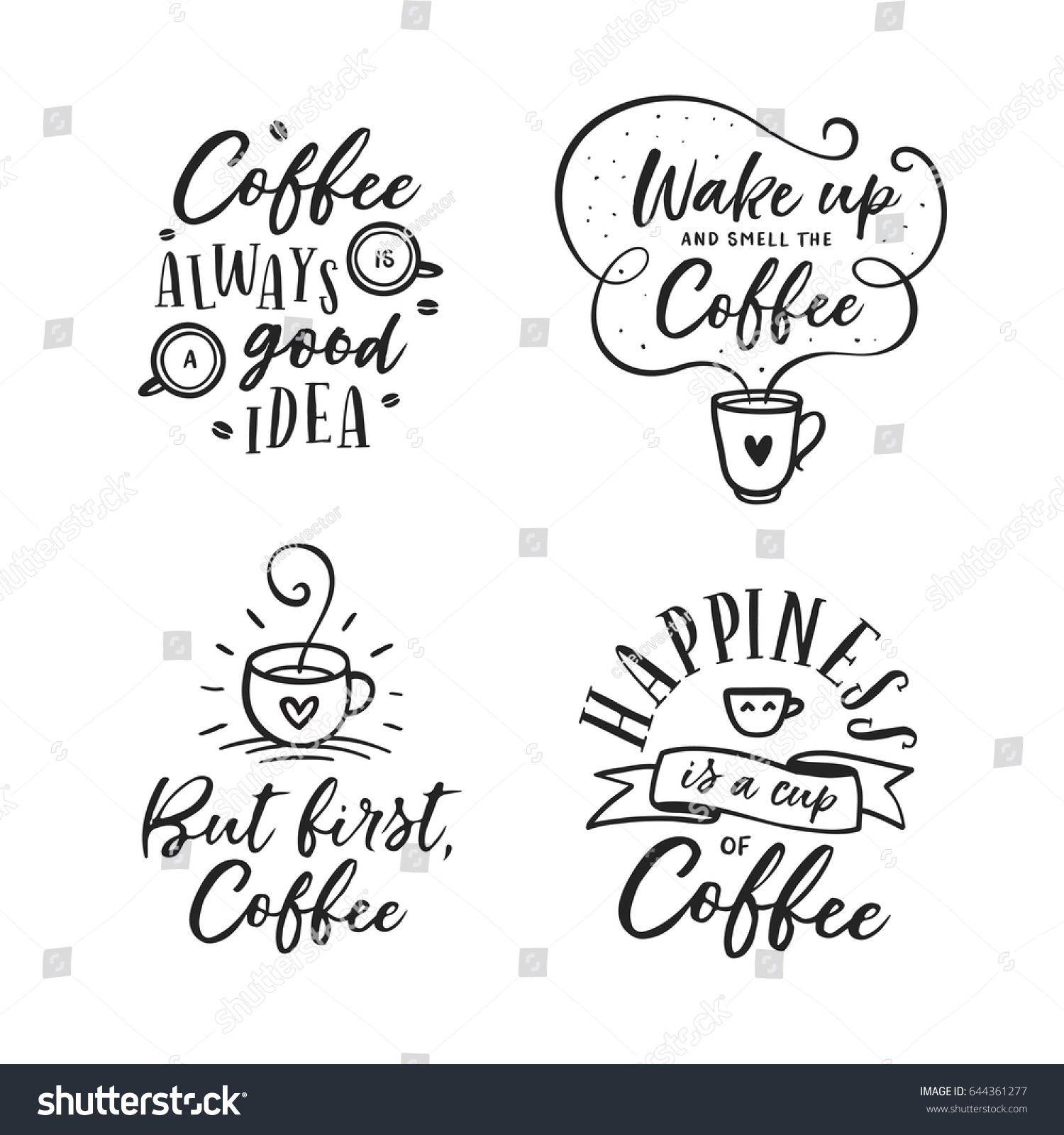 First Energy Stock Quote: Hand Drawn Coffee Related Popular Quotes Stock Vector