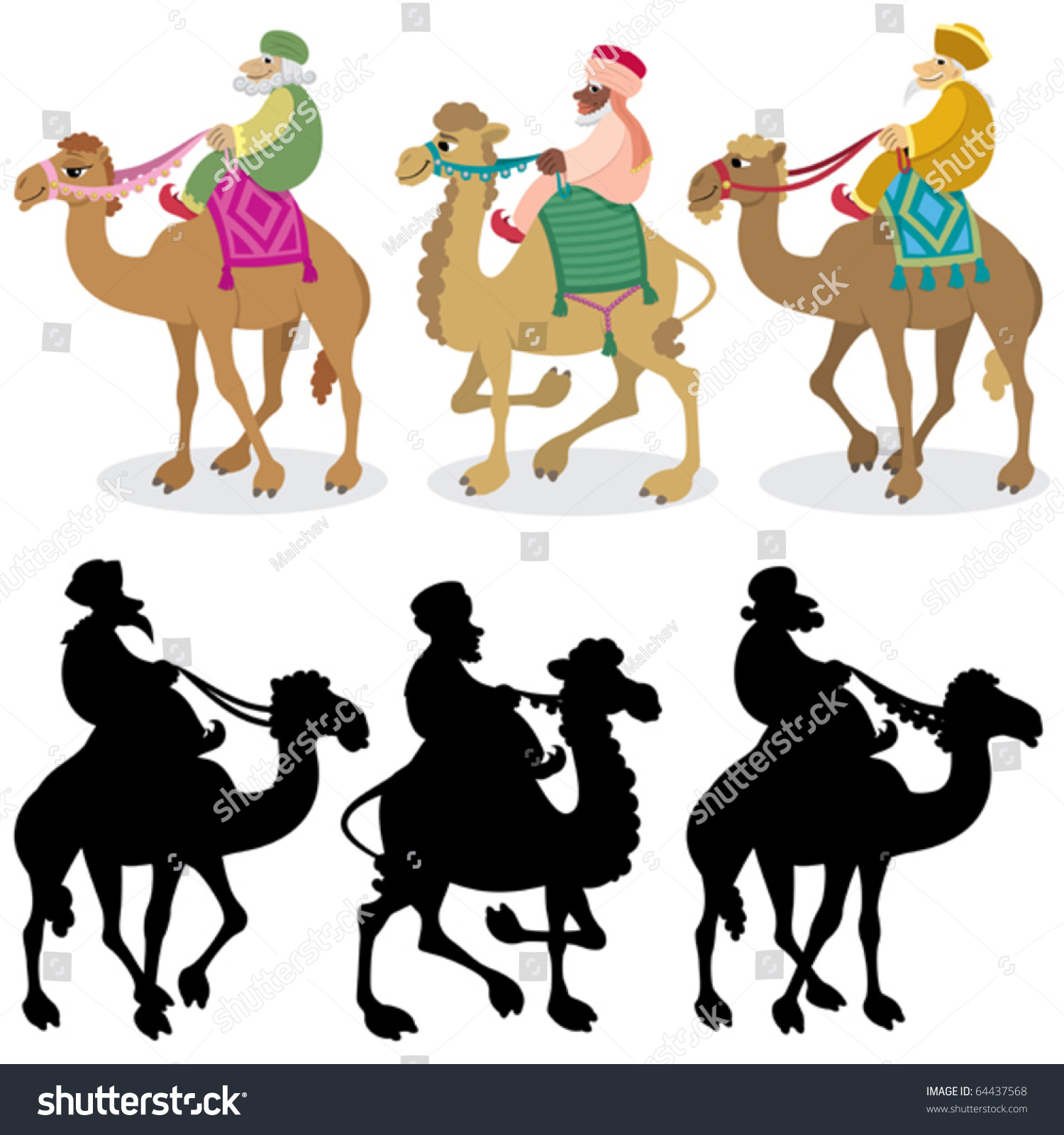 three wise men their camels isolated stock vector 64437568