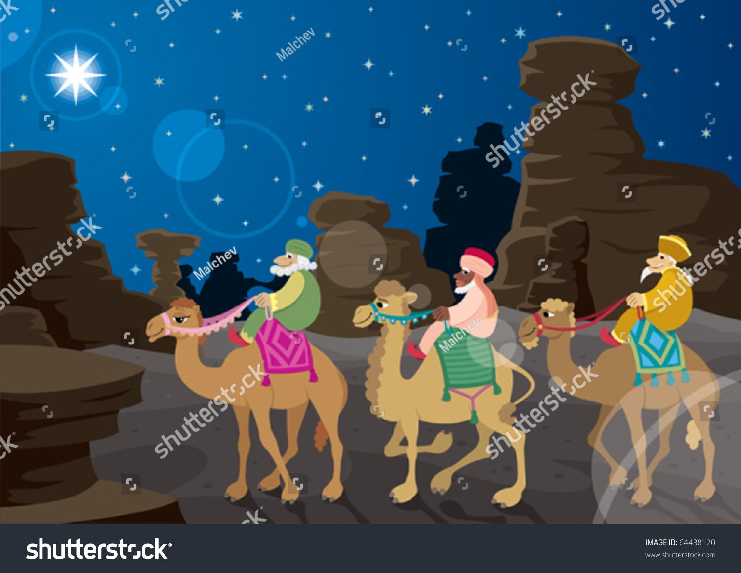 The three wise men on their camels following the star of bethlehem