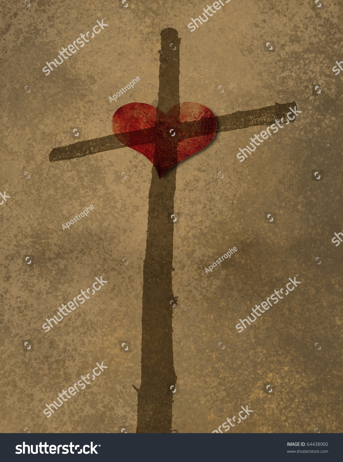 Stock Photo Cross And Heart On Brown Background Images Photos Vectors