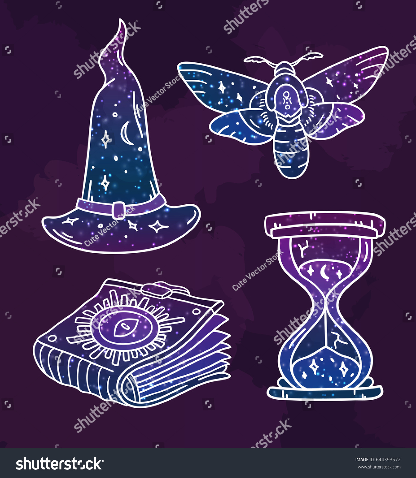 Cool set mystical symbols vector doodle stock vector 644393572 cool set with mystical symbols in vector doodle prints with galaxy pattern collection with biocorpaavc