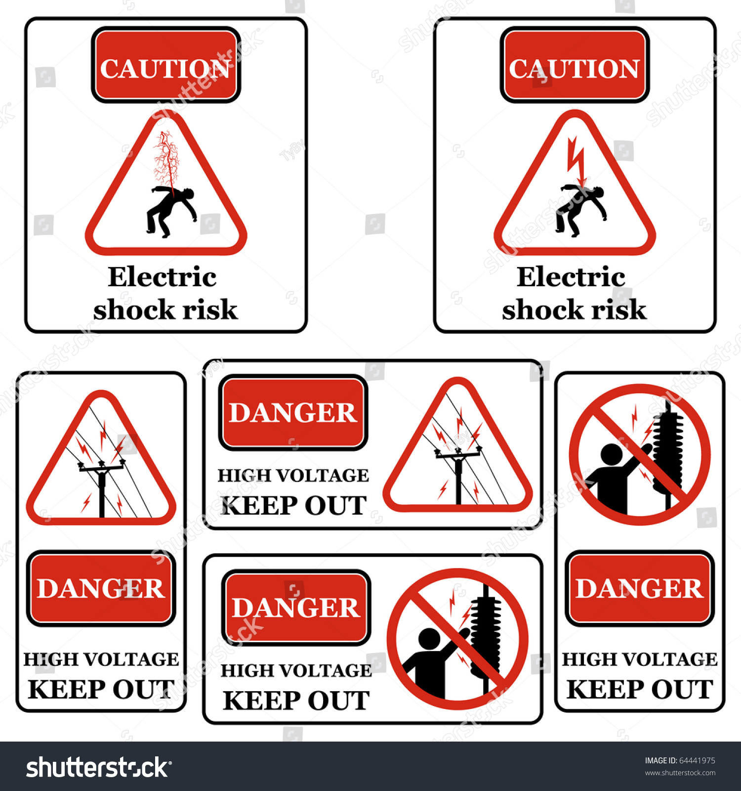 Set Electricity Signs Symbols Isolated On Stock Illustration ...