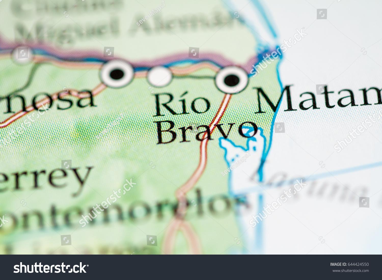 Rio Bravo Mexico Map.Rio Bravo Mexico Stock Photo Edit Now 644424550 Shutterstock