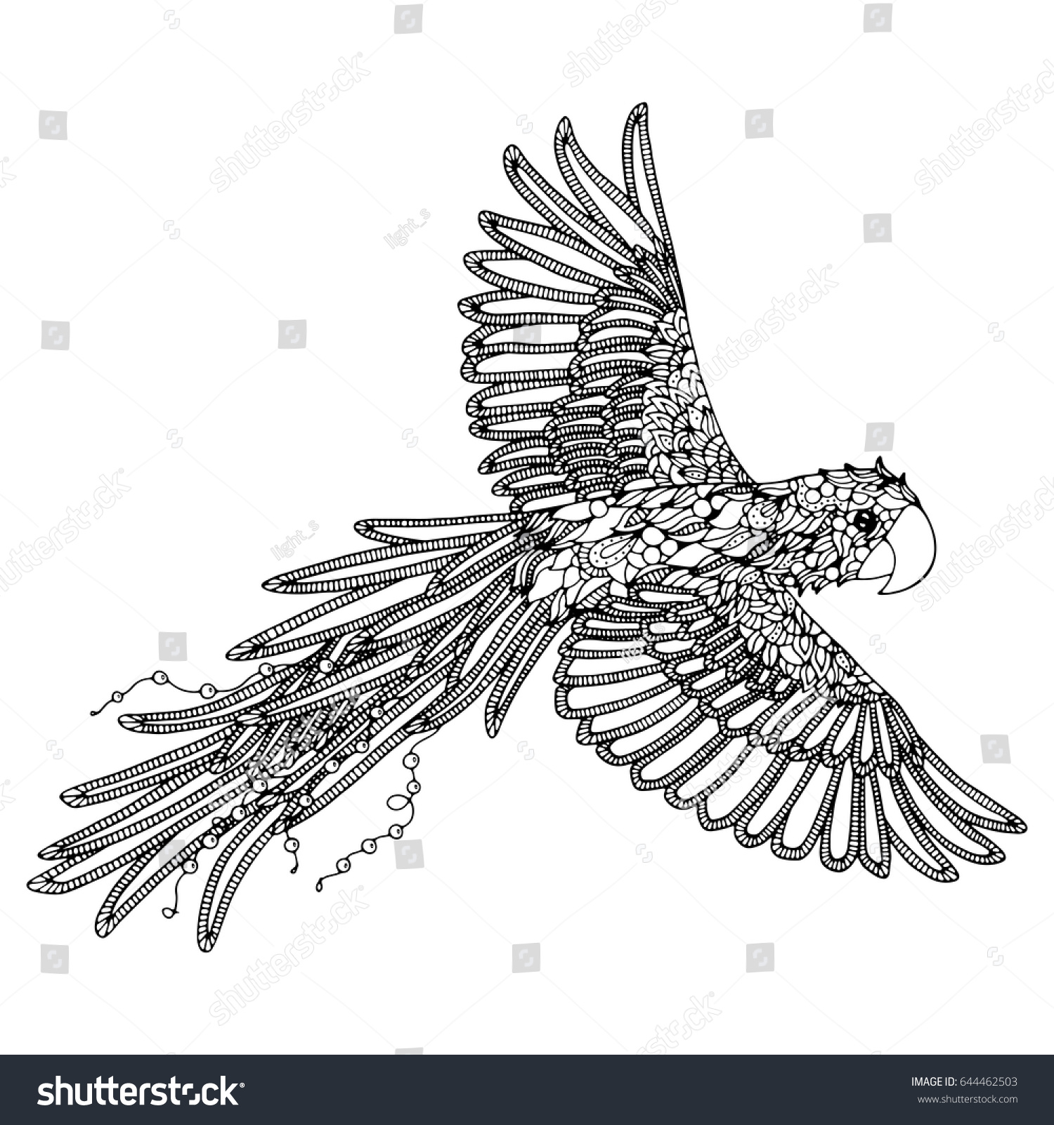 Parrot Coloring Page Scarlet Macaw Stock Vector 644462503 - Shutterstock