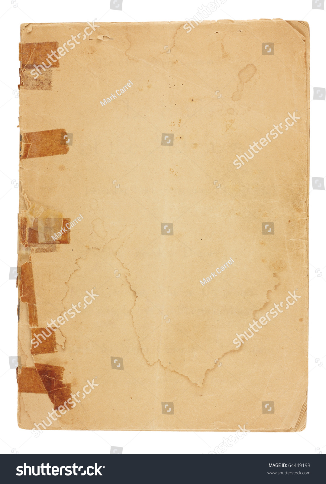 old pamphlet very old yellowed tape stock photo  old pamphlet very old yellowed tape on broken binding cover page is water