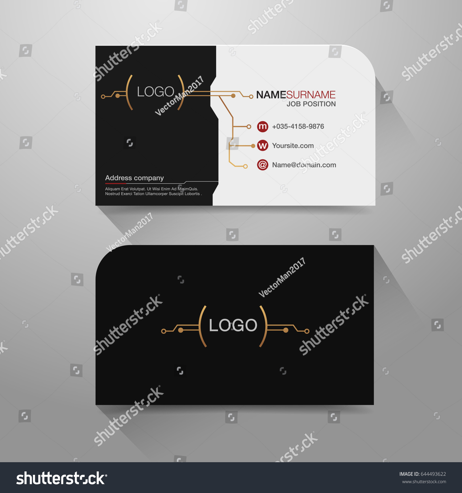 Business Name Card Modern Design Background Stock Vector 644493622 ...