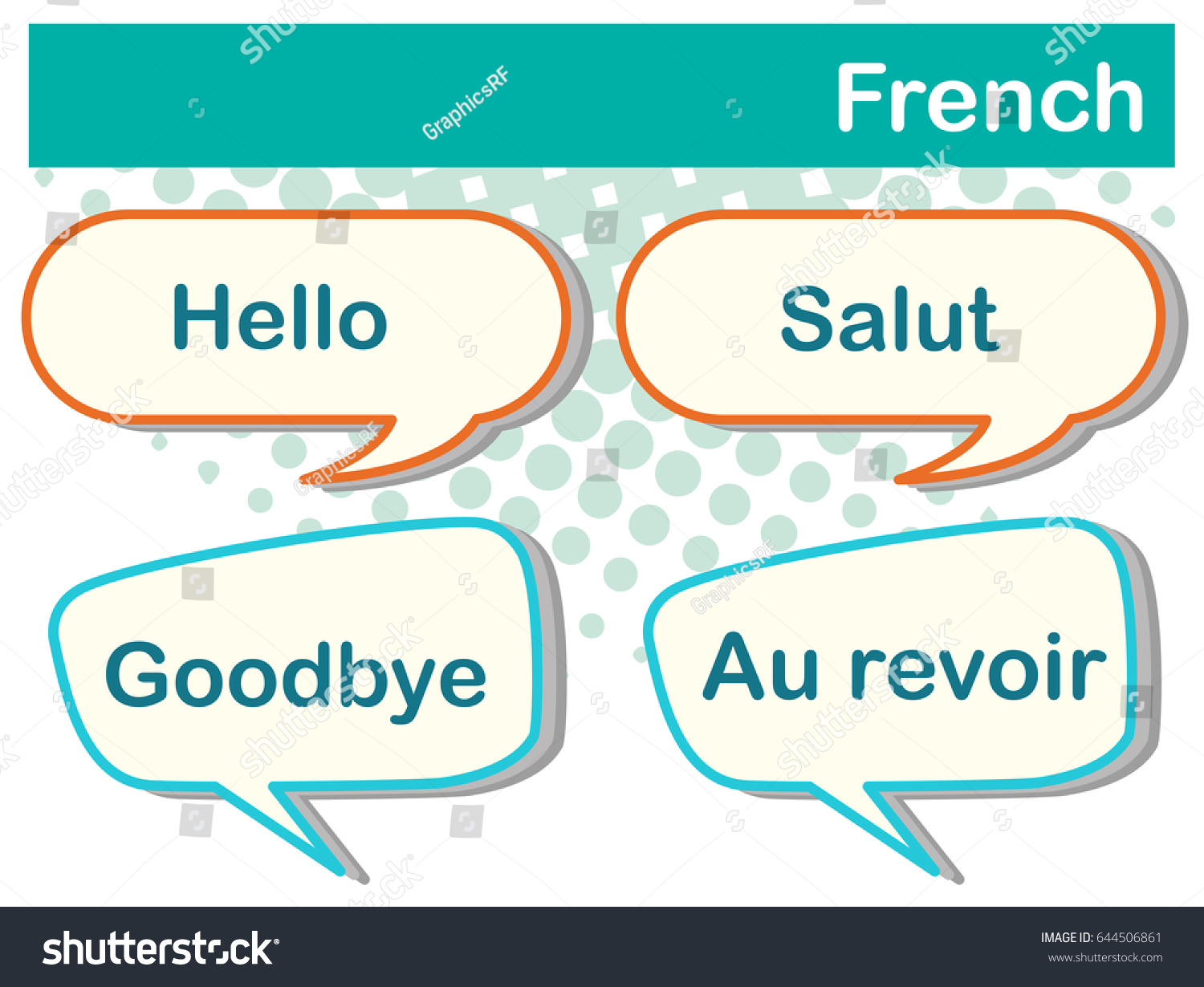 Different Expressions French Language Illustration Stock Vector
