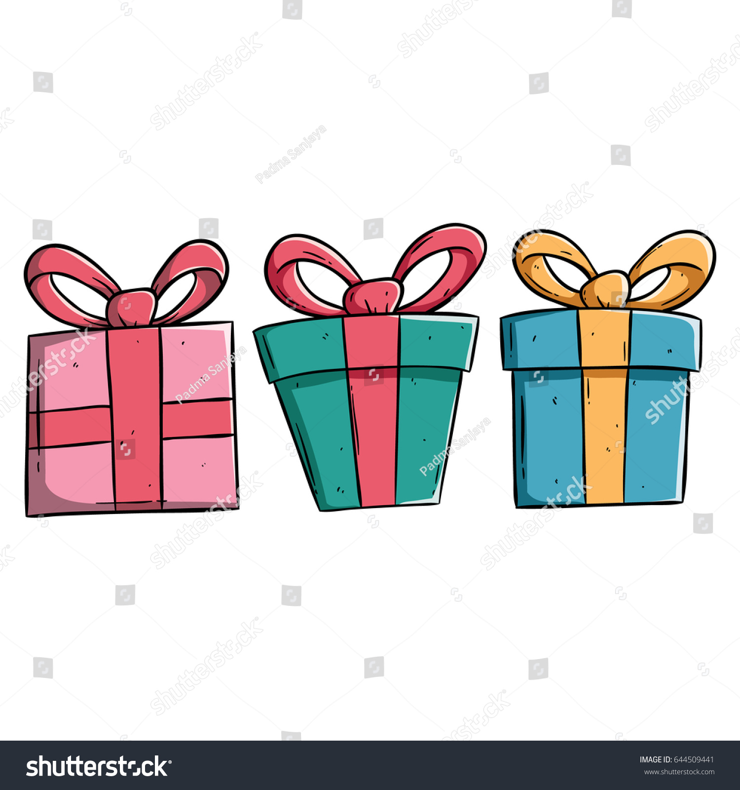Set gift box color outline on stock vector 644509441 shutterstock set of gift box with color and outline on white background negle Image collections