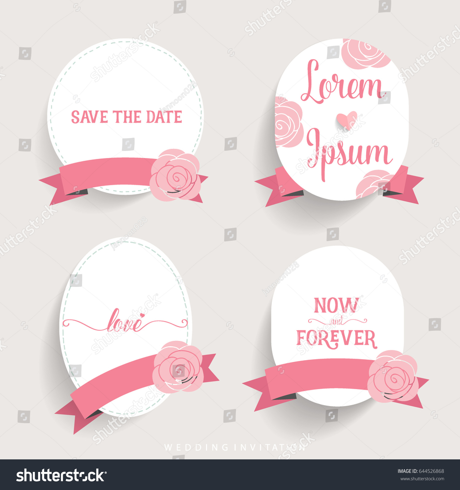 Wedding Invitation Card Design Cute Flower Stock Vector 644526868 ...