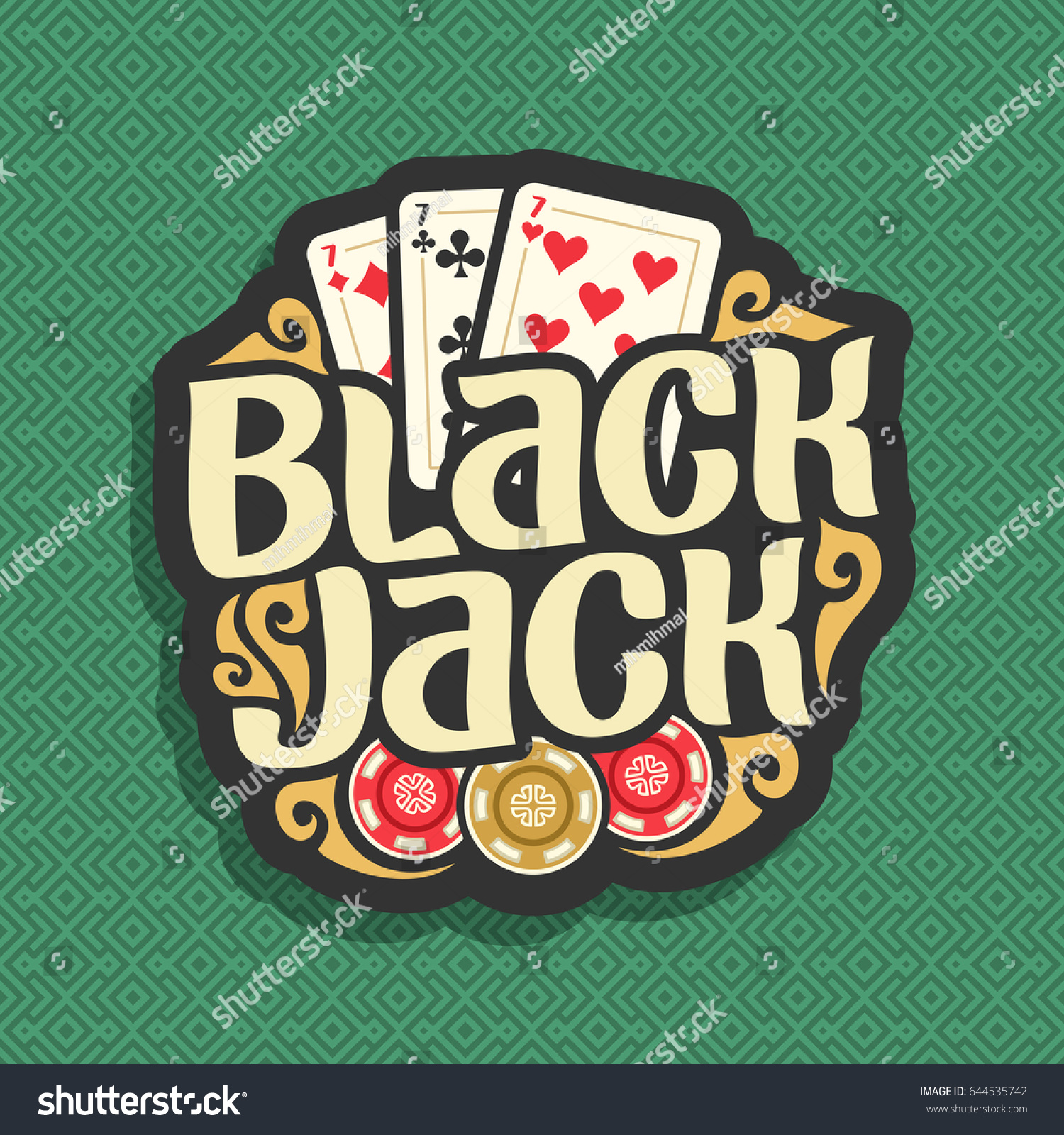 Vector Logo Blackjack Playing Cards Combination Stock