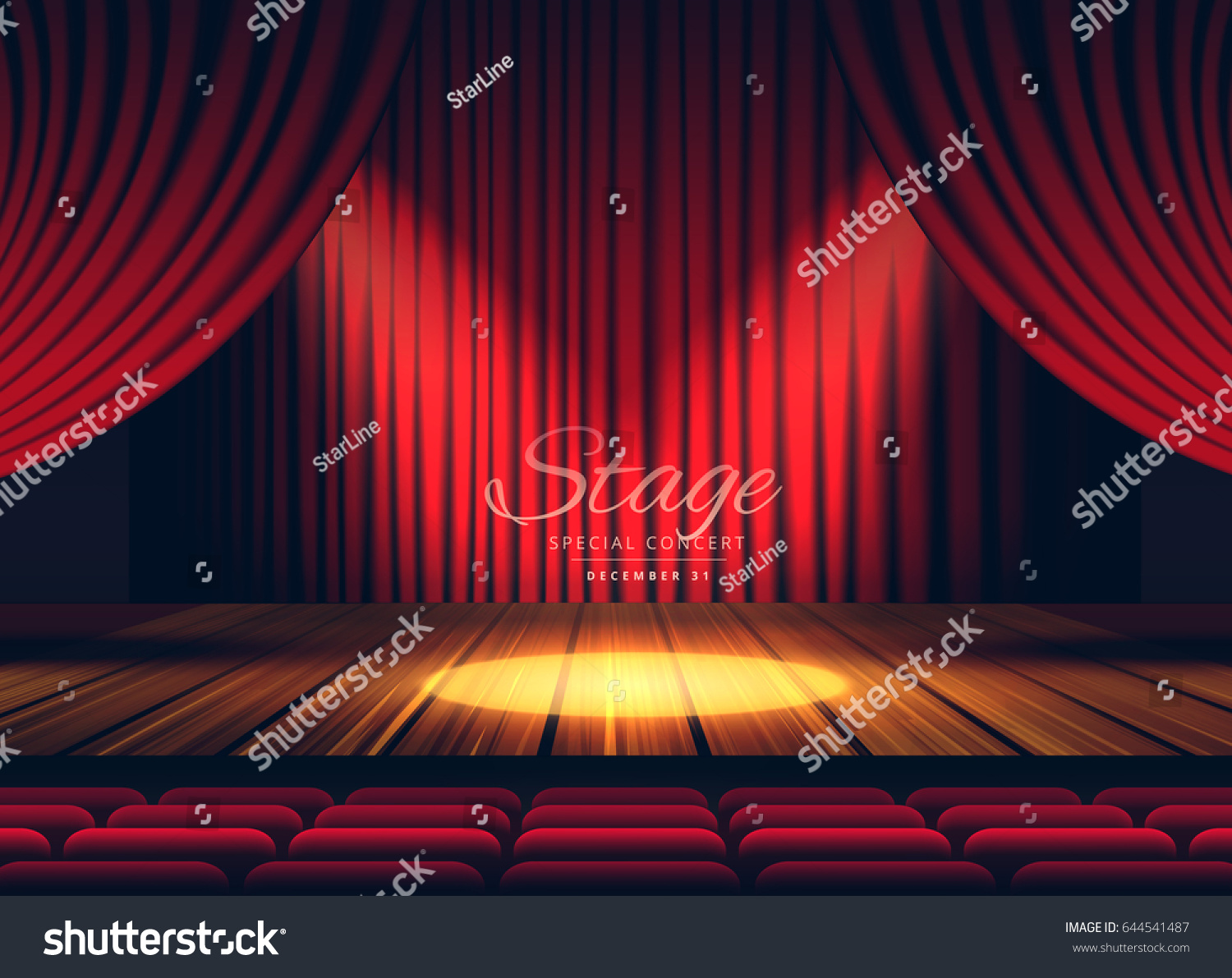Stock photo dramatic red old fashioned elegant theater stage stock - Premium Red Curtains Stage Theater Or Opera Background With Spotlight