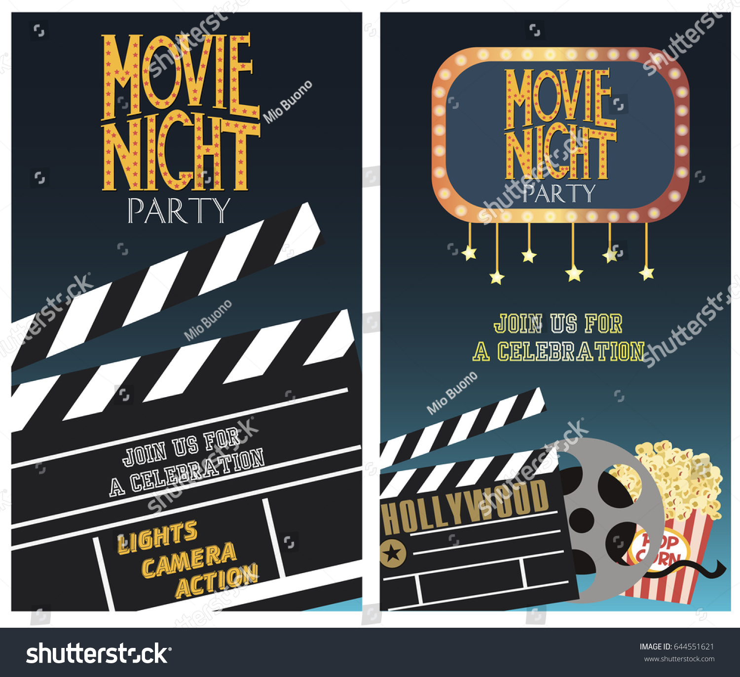 Set movie party invitation greeting cards stock vector 644551621 set of movie party invitation or greeting cards vector illustration kristyandbryce Images