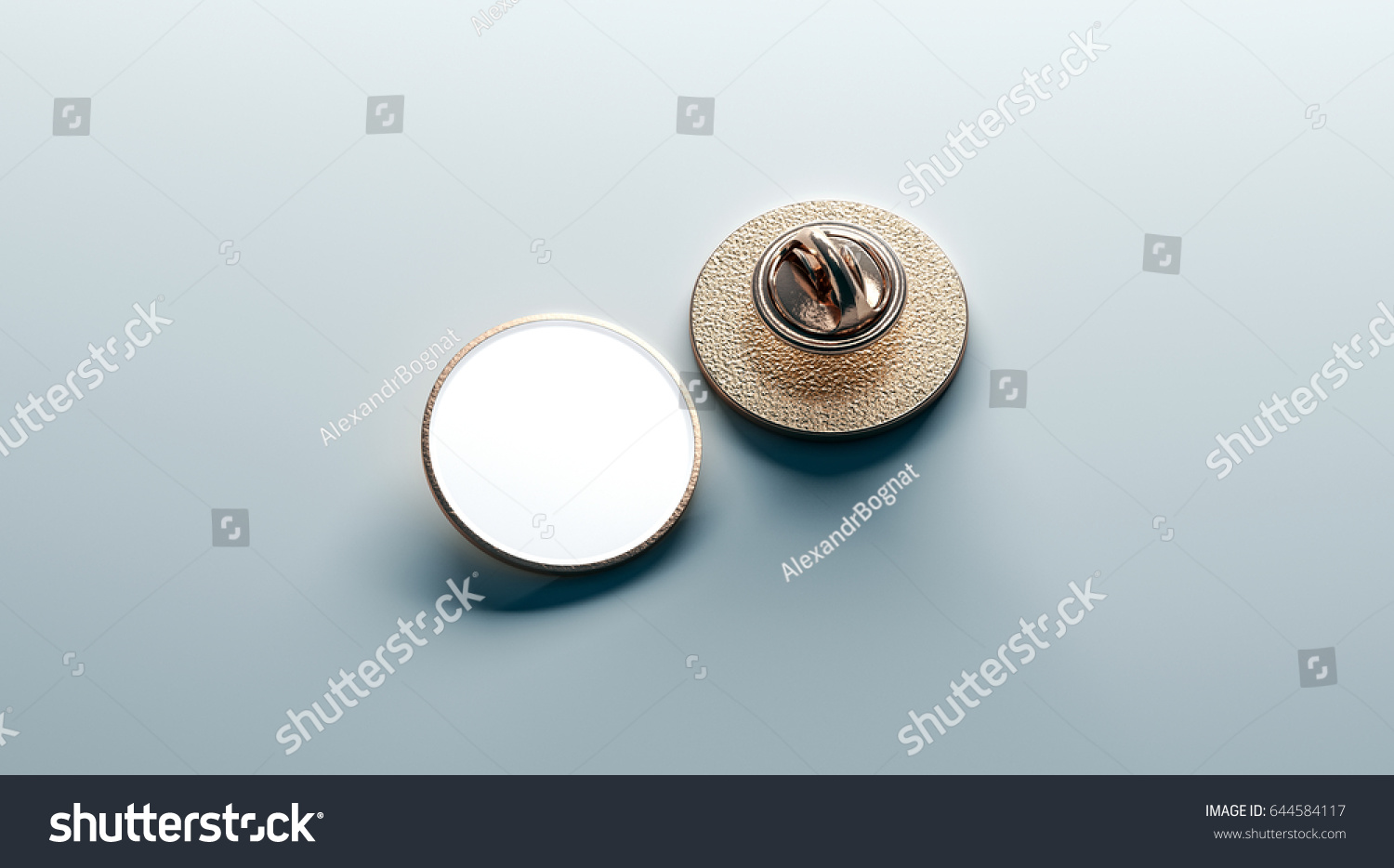 Blank White Round Gold Lapel Badge Mock Up Front And Back Side View 3d