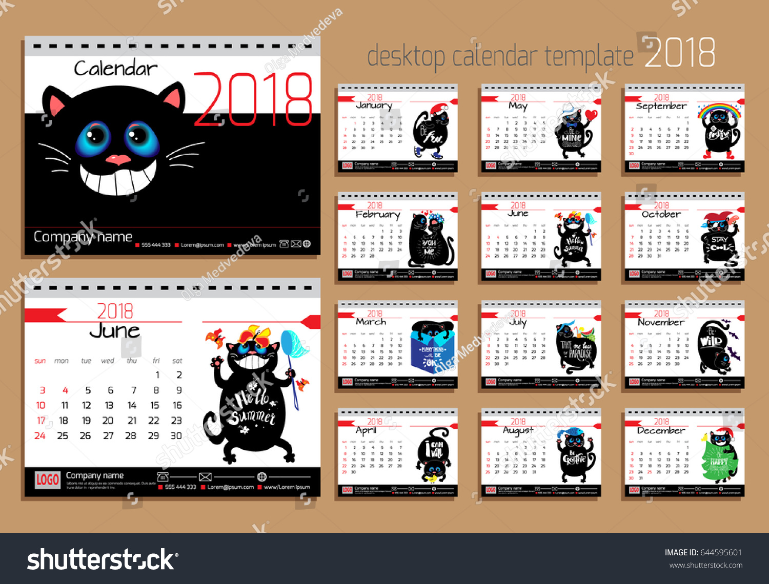 Inspirational Quotes Desk Calendar 2018 : Desk calendar funny cats year stock vector