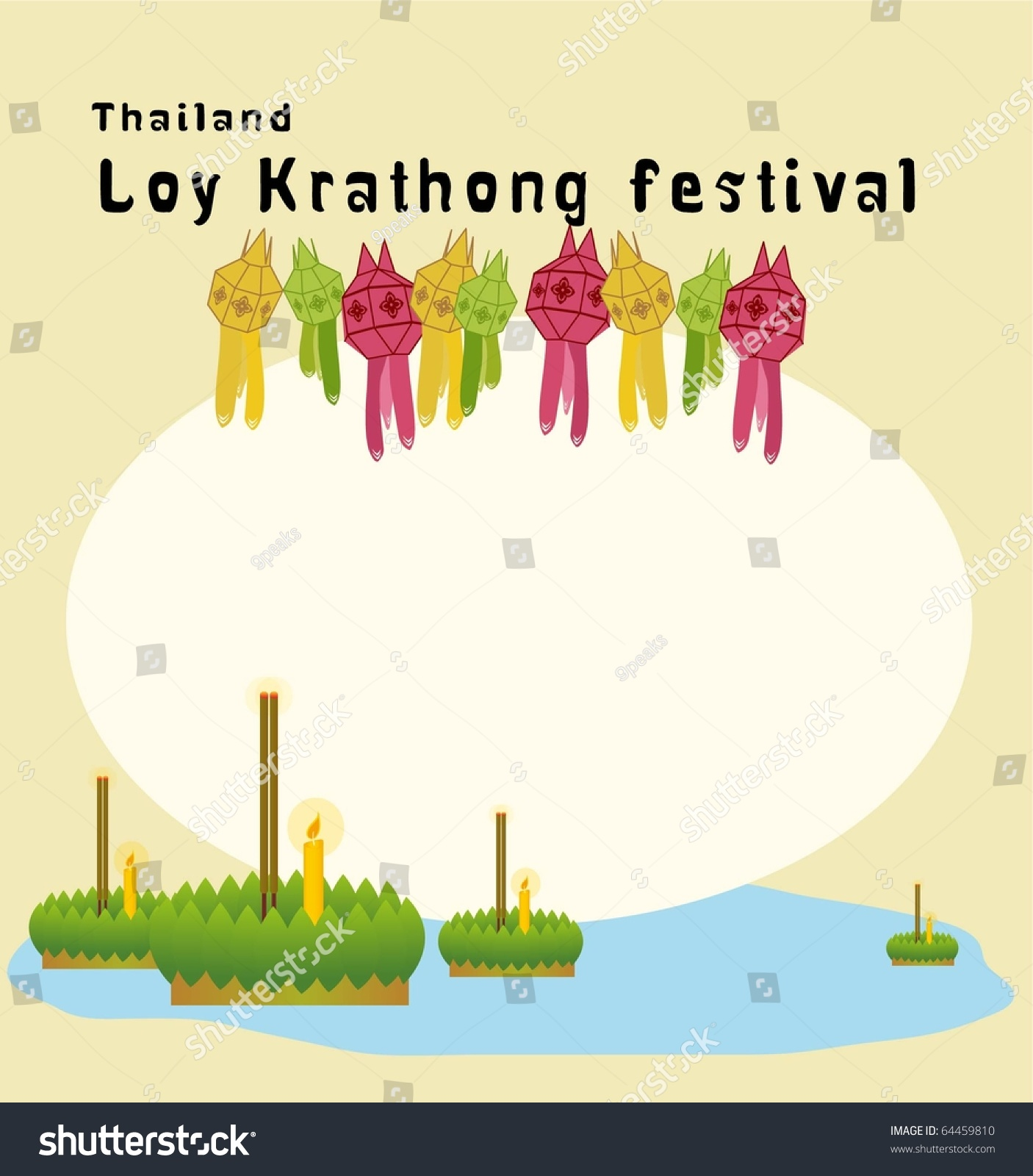 Thailand loy krathong festival invitation card stock vector 64459810 loy krathong festival invitation card stopboris Images