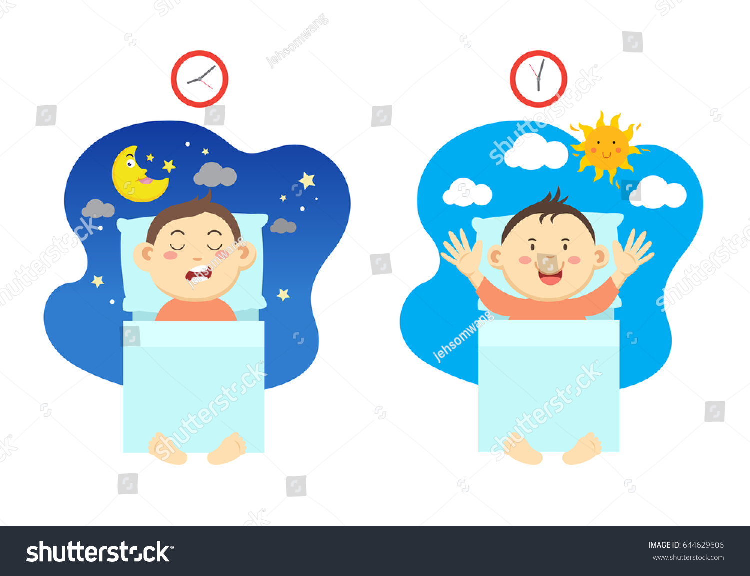 Get Early Have Healthy Sleepvector Illustration Stock Vector ...
