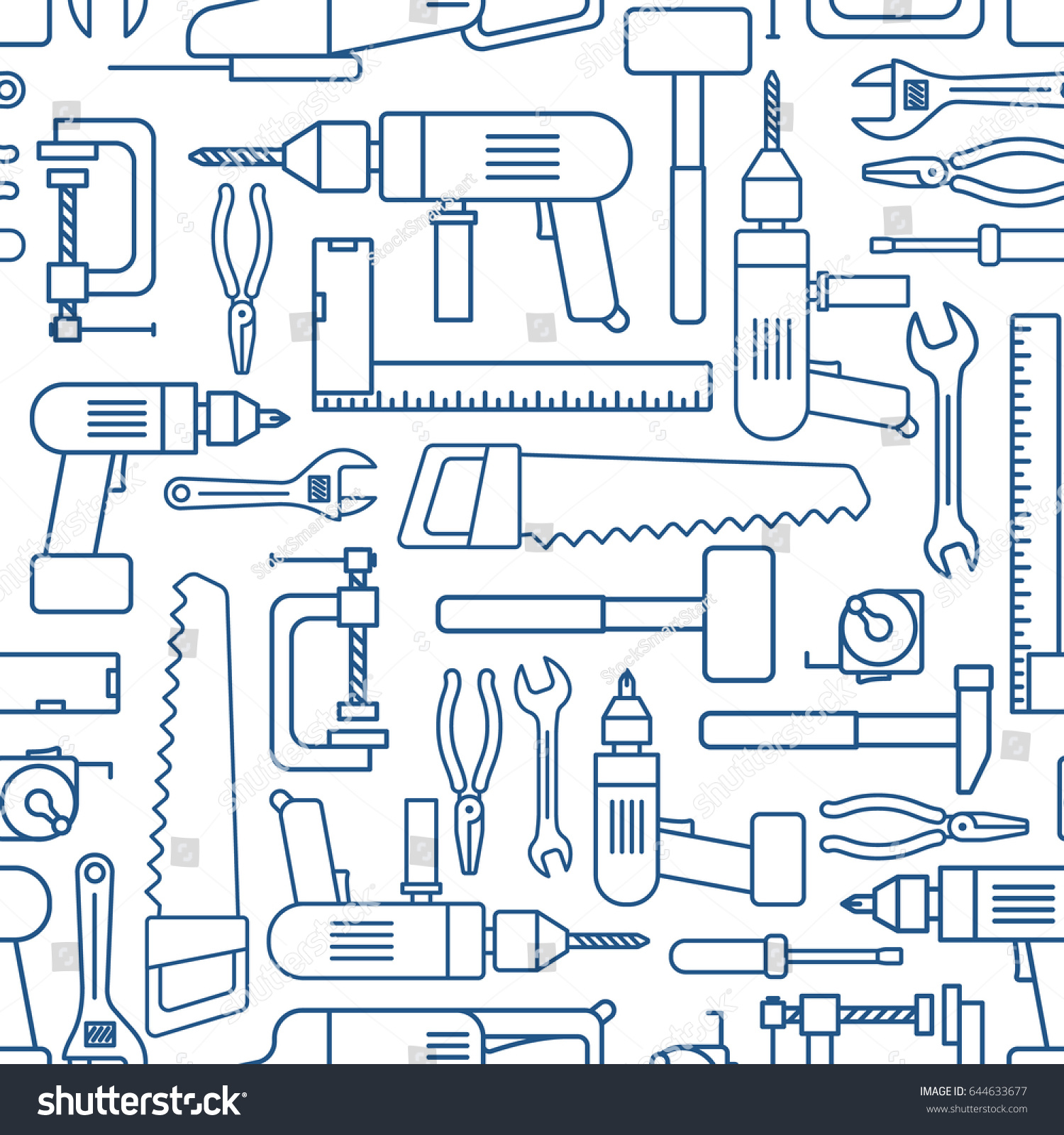 Hardware Tool Set Linear Seamless Pattern Vector Carpenter Or Locksmith Working Tools Thin Line Wallpaper