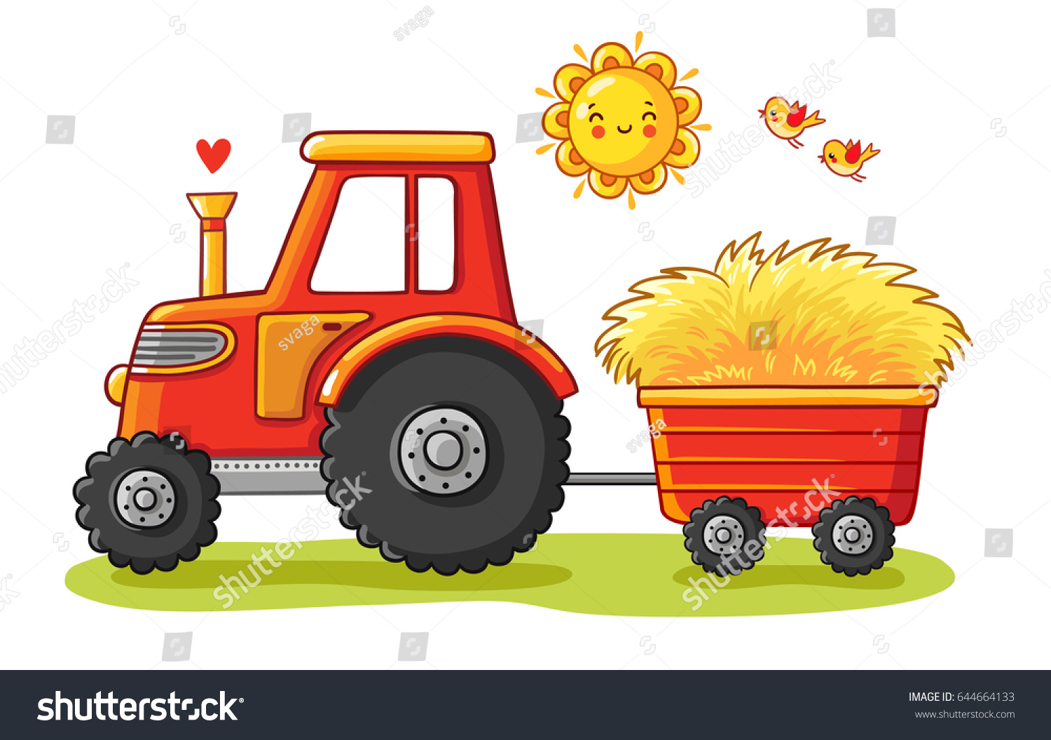 Hay Farmer Tractor Cartoon : Tractor cart agricultural machinery transports hay stock