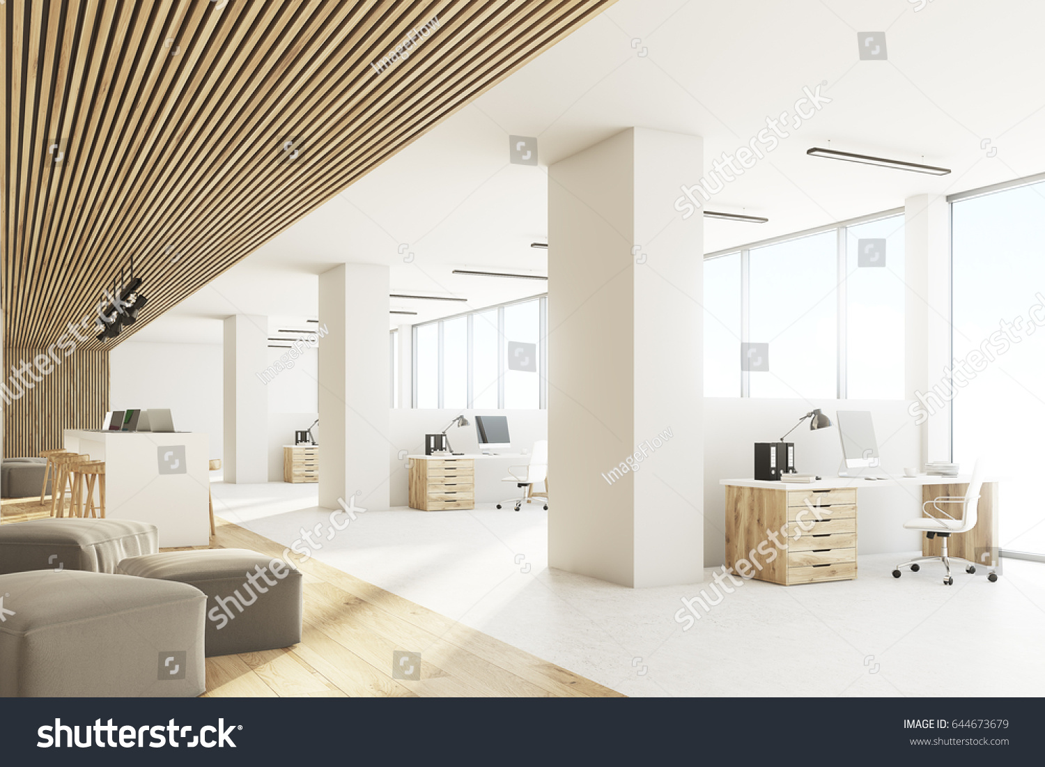 Side View Open Office Interior Bar Stock Illustration 644673679 ...