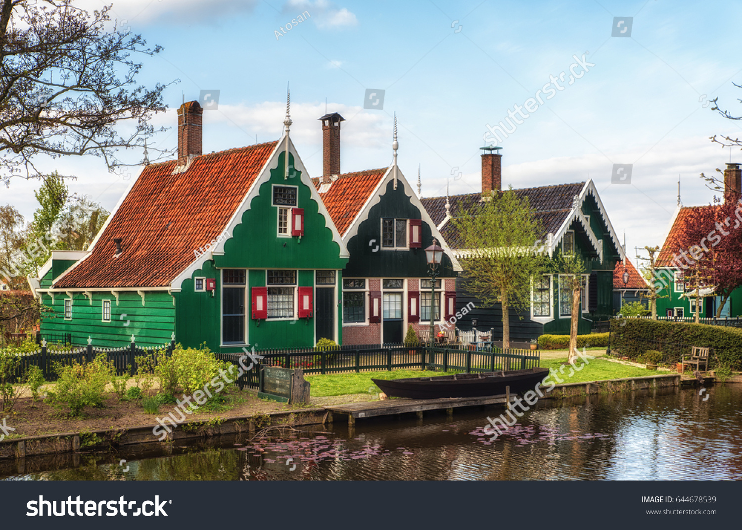 Beautiful dutch scene traditional houses by stock photo for Classic dutch house of 60m2