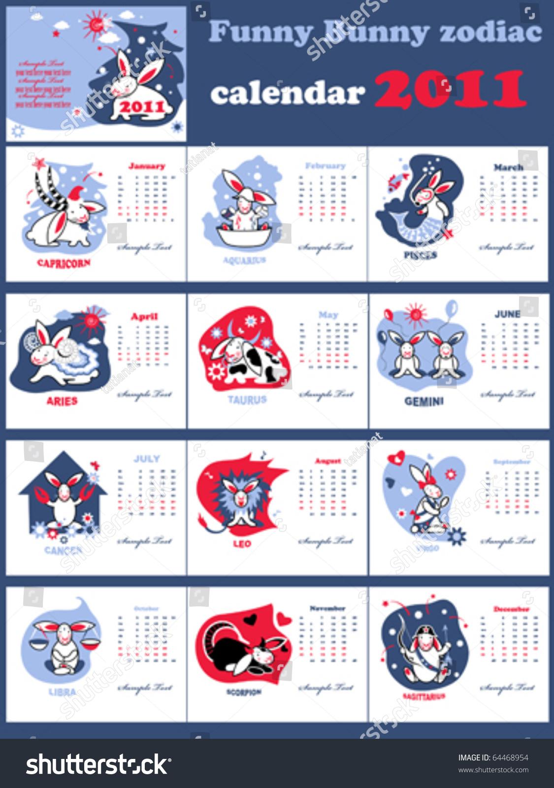 Monthly Calendar Horoscope : Funny bunny zodiac calendar set stock vector