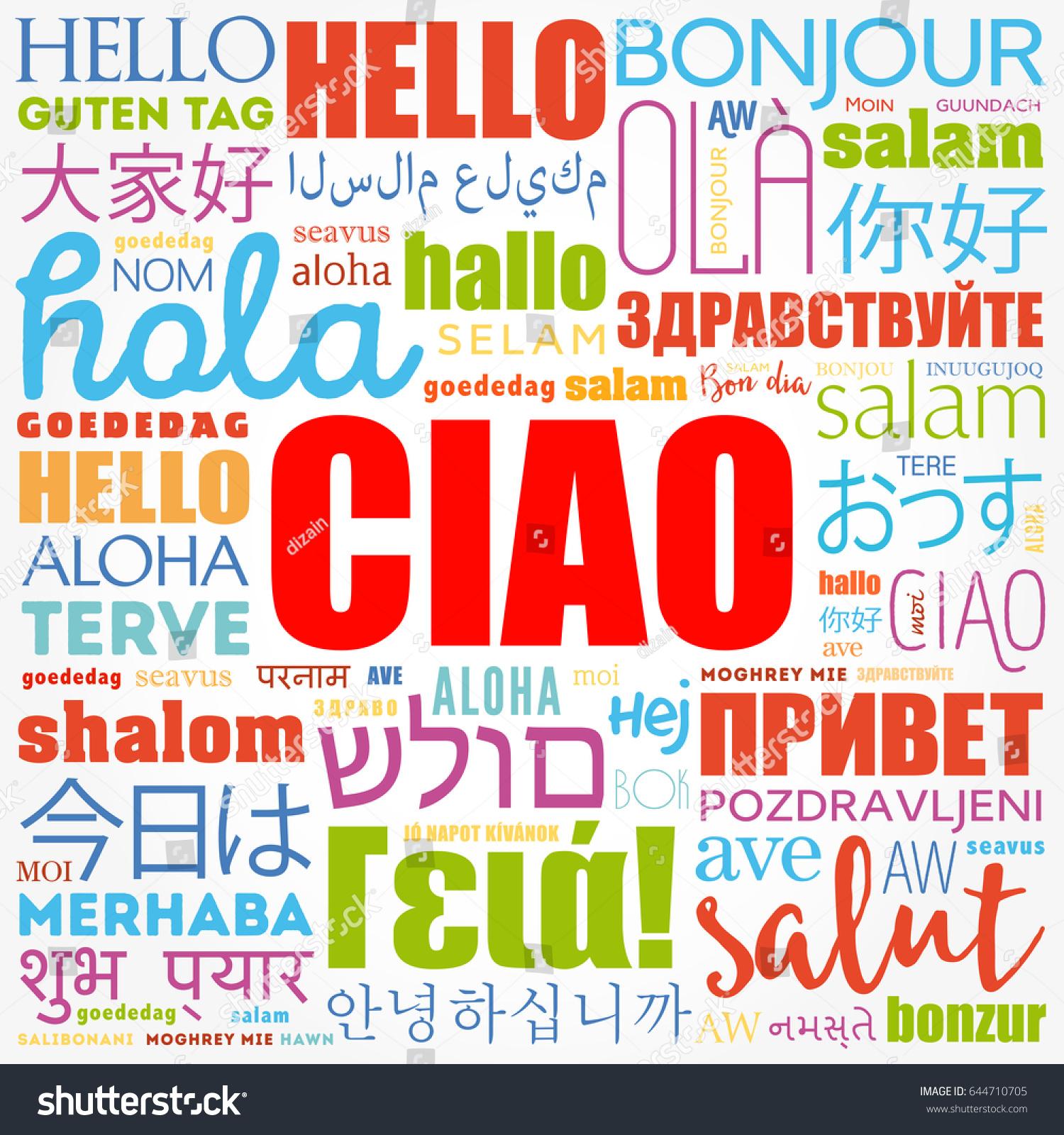 Ciao Hello Greeting Italian Word Cloud Stock Vector Royalty Free
