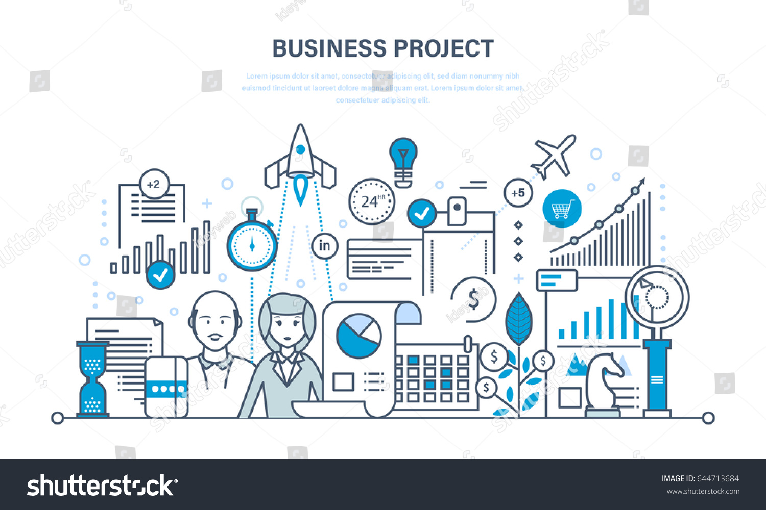 business project control time management marketing stock vector