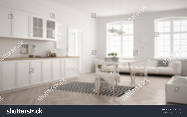Blur Background Interior Design Minimalist Modern Stock
