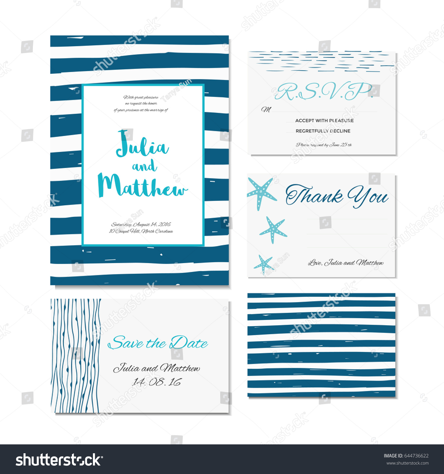 wedding invitation thank you save date stock vector 644736622