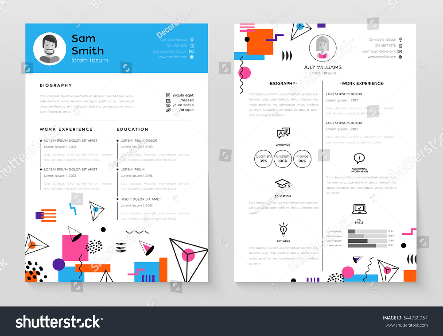 personal resume vector template illustration abstract stock vector