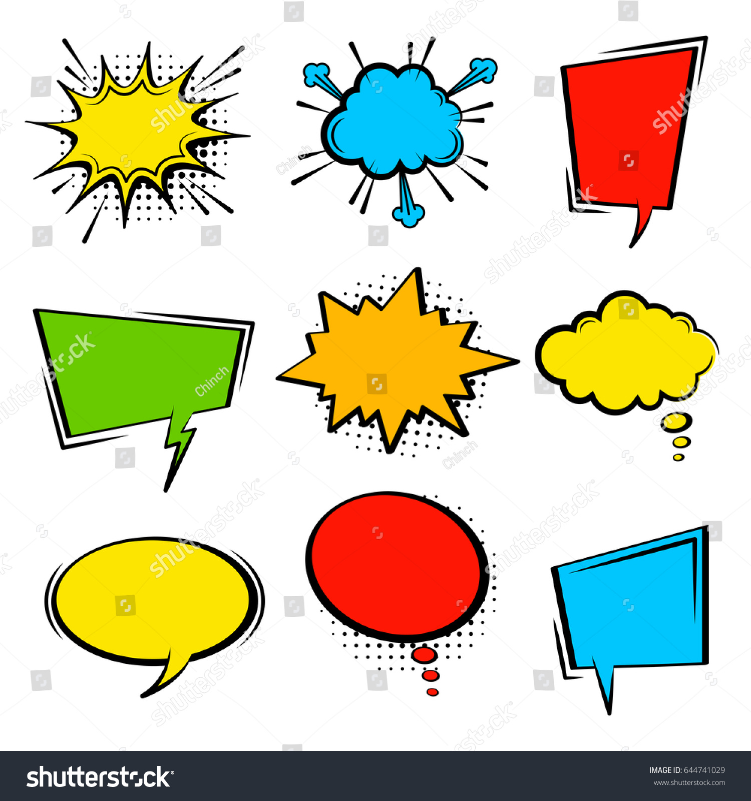Comic Speech Bubble Set Empty Cartoon Stock Vector