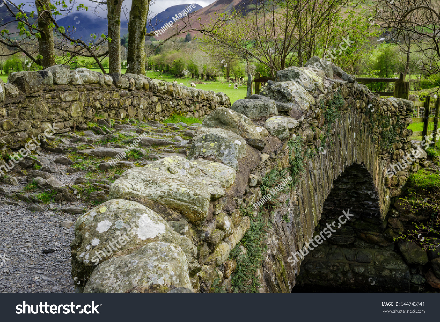 Old Rustic Stone Bridge Passing Over A Stream In The Lake