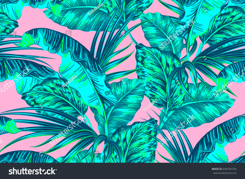 Tropical Palm Leaves Jungle Leaf Seamless 644745724
