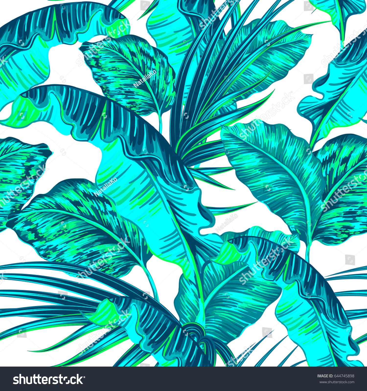 Tropical Flowers Jungle Leaves Paradise Flower stock vector art