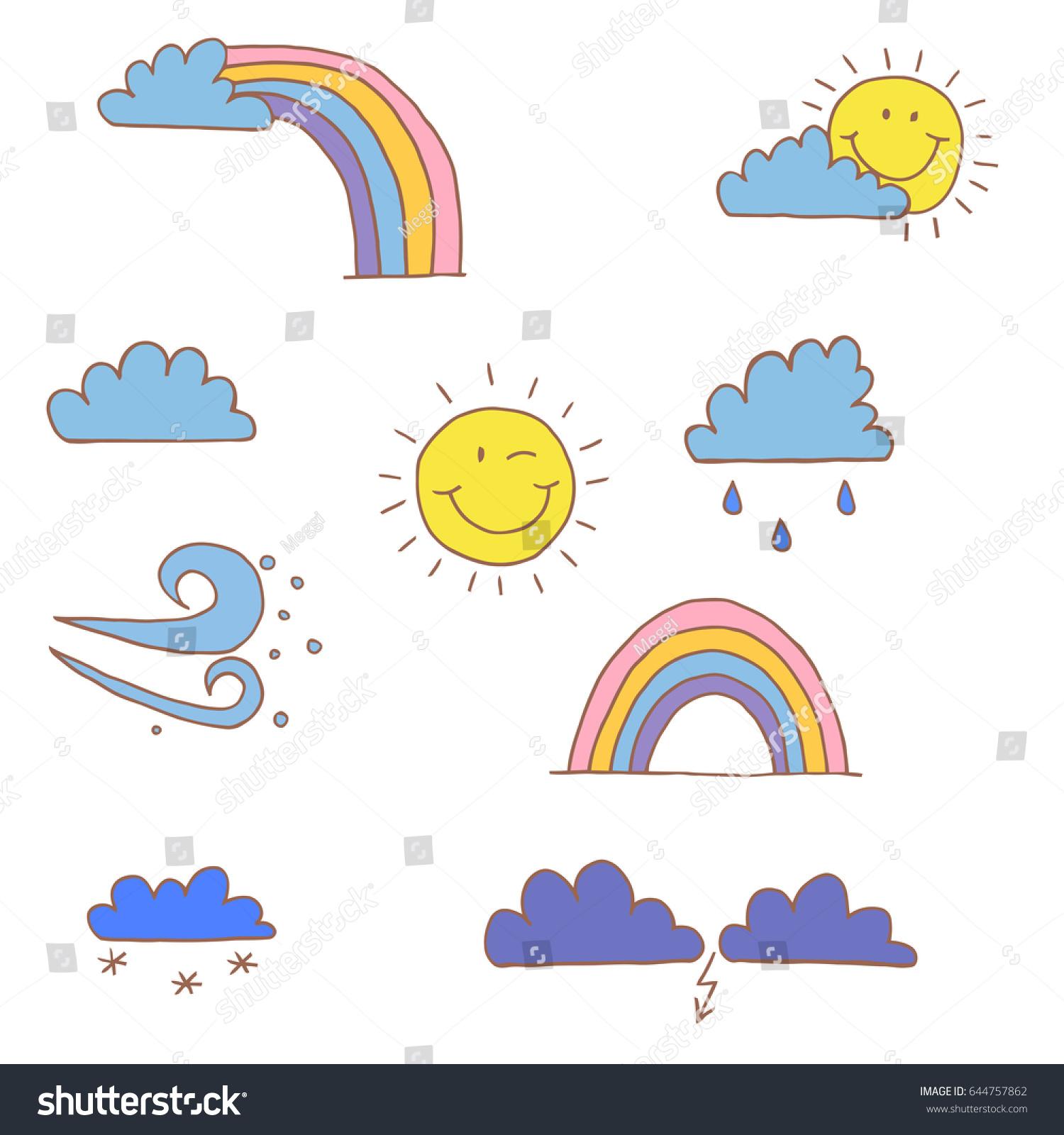 Cartoon Illustration Cute Weather Symbols Collection Stock