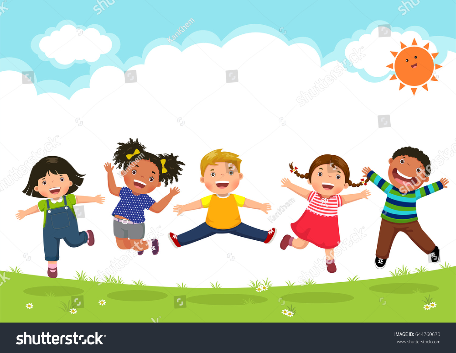 Happy Kids Jumping Together During Sunny Stock Vector