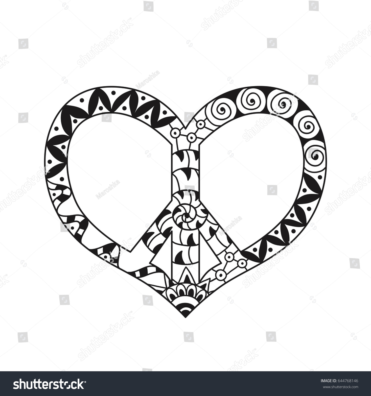 Hand Drawn Hippie Peace Symbol Heart Stock Vector 644768146 ...