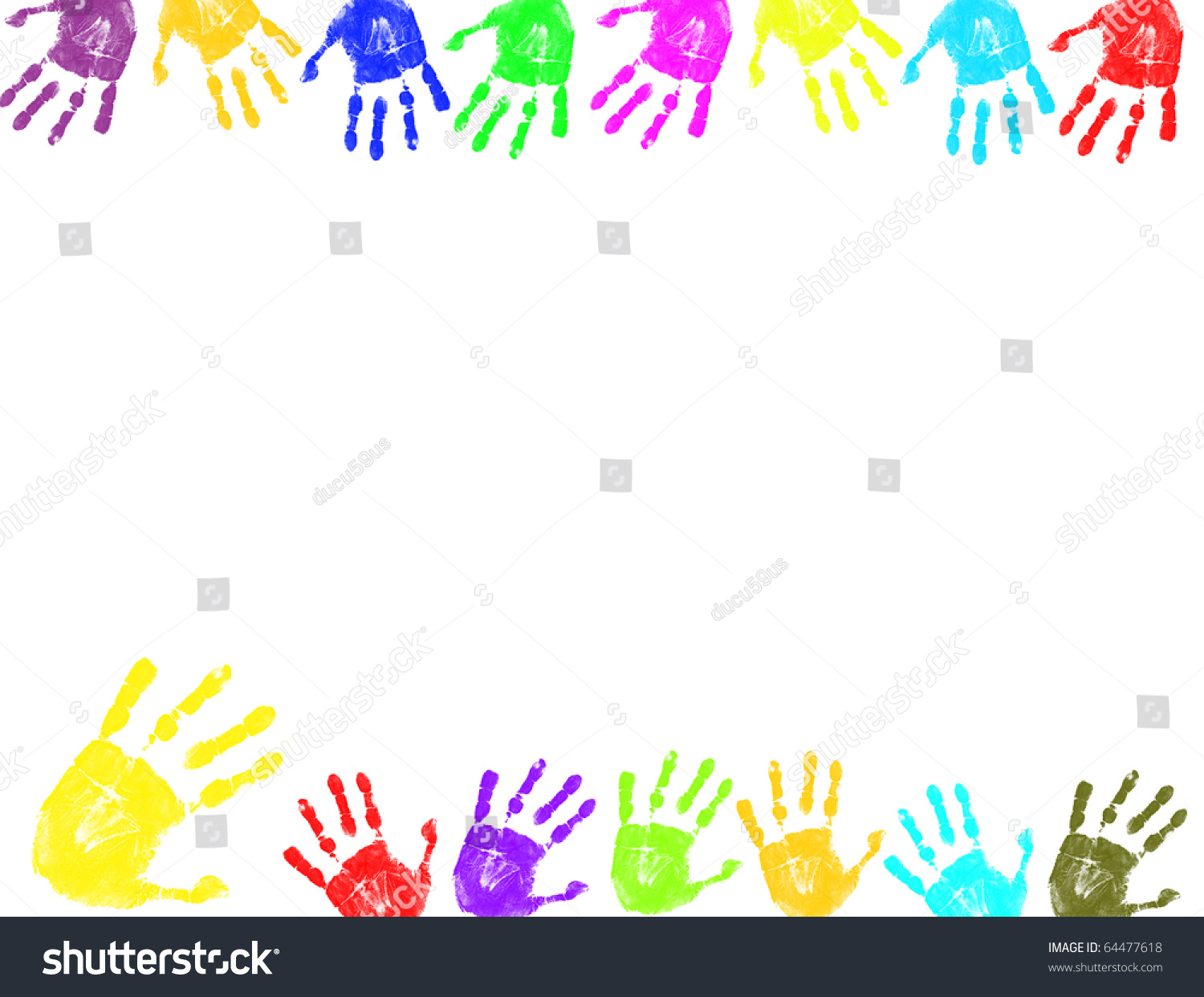 Color Abstract Vector Background Text Frame Stock Vector: Colorful Hand Prints Backgroundframe Text Stock Vector