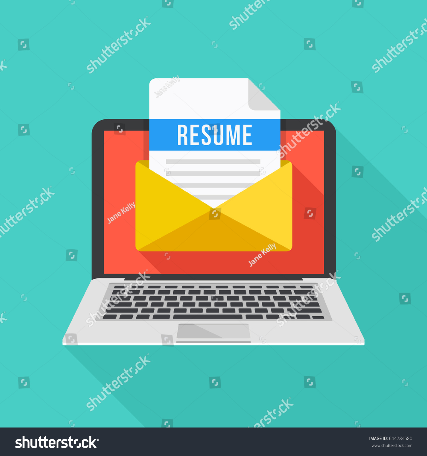Laptop Envelope Resume Letter Email Cv Stock Vector 644784580