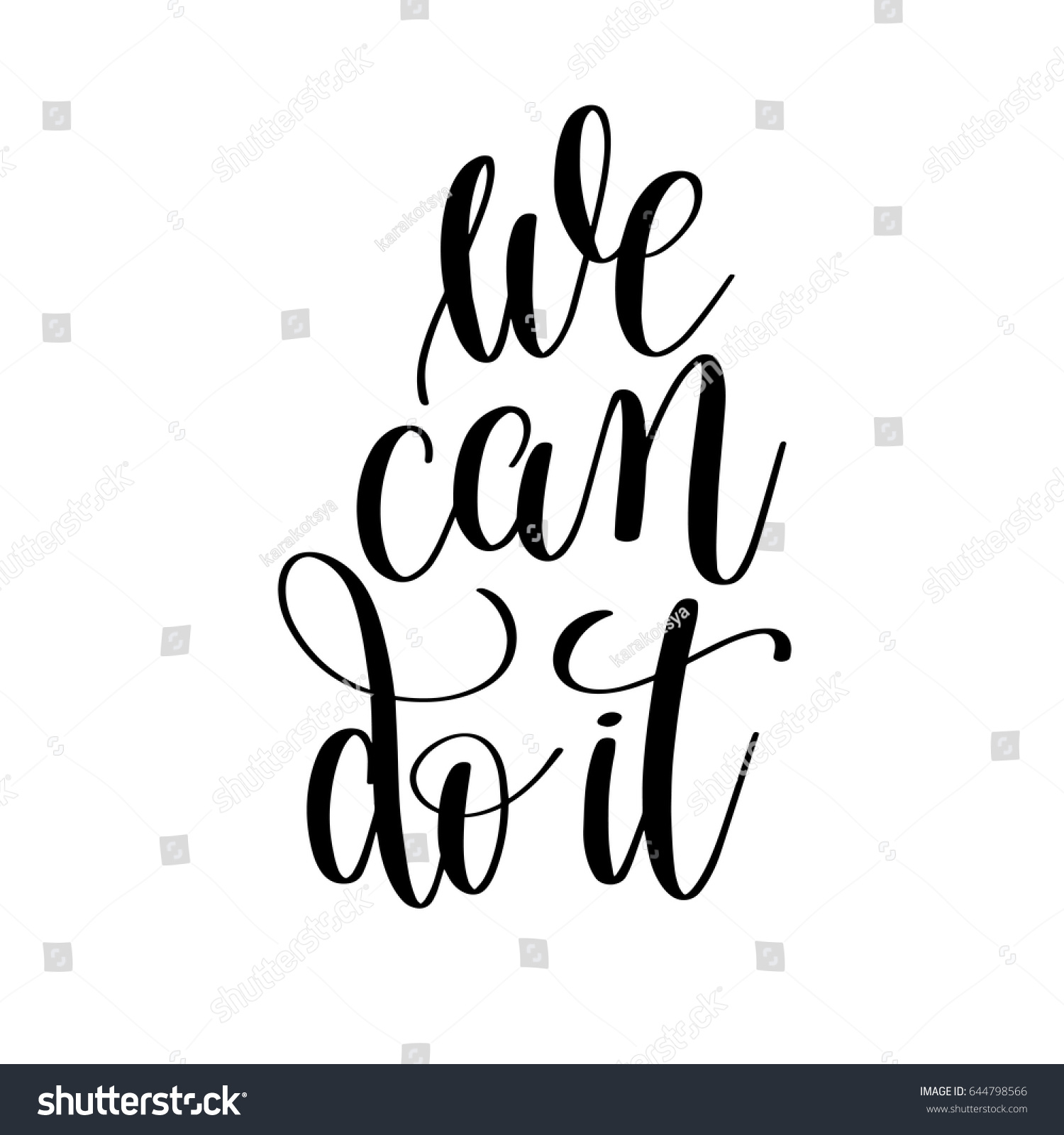 We Can Do Black White Motivational Stock Vector Royalty Free