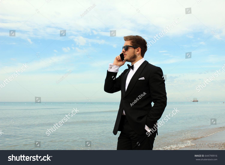 Attractive Man Sunglasses Black Suit Near Stock Photo & Image ...